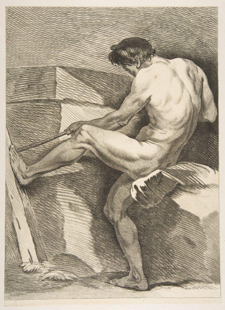 "An ""Académie"": Man Pulling a Cord"