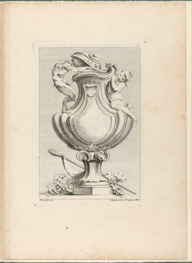 Design for a vase with a faun and a nymph, from Livre de Vases (Book of Vases), plate 10