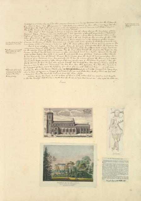 Leaf from Aedes Walpolinae mounted with a hand-written sheet, two prints and a printed sheet with drawn additions: (a): Sermon on Painting, continued; (b): St. Peter's Church at Walpole; (c): Chateau de Picton; (d): Monument of Eudo de Arsie; (e) Printed text describing Monument of Eudo de Arsie