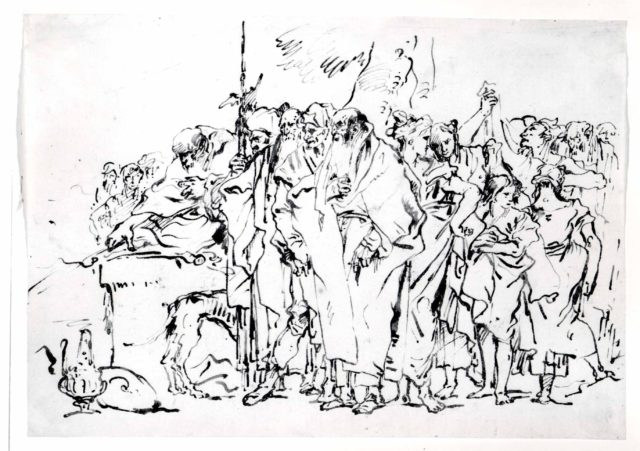 A Crowd of Persons in Antique Roman or Oriental Dress, Gathering at a Pagan Altar
