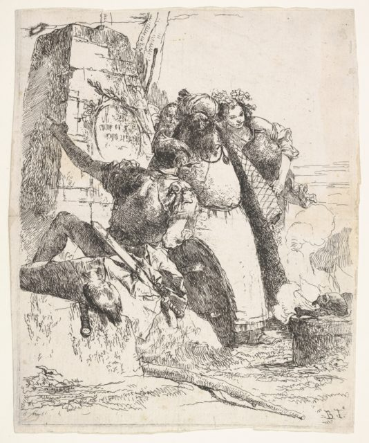 A scene of necromancy: a woman bearing a vessel, a turbaned man, and a soldier look toward a pedestal upon which a skull and limb bone are burning, a bearded male figure's face is visible behind the group, from the series 'Turns of fantasy' (Scherzi di fantasia)