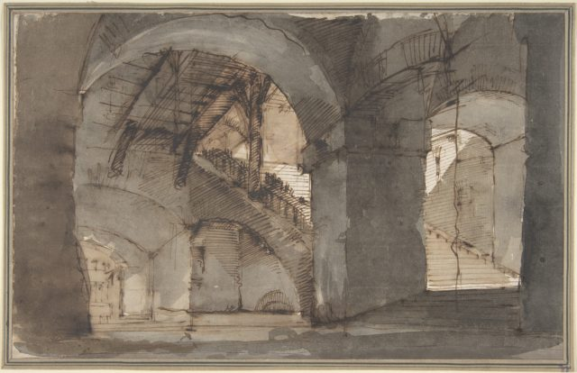 Design for a Stage Set: A Dungeon with High Vaults and a Staircase at Right.