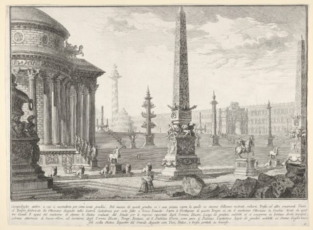 Plate 10: 'The ancient Capitol ascended by approximately one hundred steps [...]' (Campidoglio antico a cui si ascendeva per circa cento gradini [...]), from the series 'Part one of architecture and perspectives: drawn and etched by Gio. Batt'a Piranesi, Venetian Architect: dedicated to Nicola Giobbe' (Prima parte di Architetture, e prospettive inventate, ed incise da Gio. Batt'a Piranesi Architetto Veneziano dedicate al Sig. Nicola Giobbe)