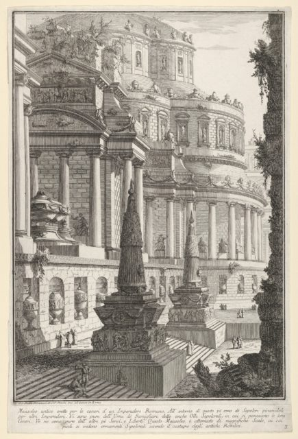 Plate 3: 'Ancient mausoleum erected for the ashes of a Roman emperor' (Mausoleo antico eretto per le ceneri d'un imperadore romano), from the series 'Part one of architecture and perspectives: drawn and etched by Gio. Batt'a Piranesi, Venetian Architect: dedicated to Nicola Giobbe' (Prima parte di Architetture, e prospettive inventate, ed incise da Gio. Batt'a Piranesi Architetto Veneziano dedicate al Sig. Nicola Giobbe)
