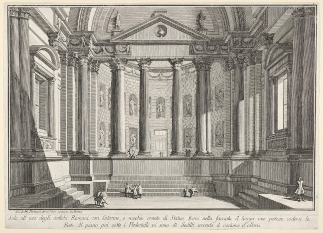 Plate 9: 'Colonnaded hall according to the custom of the ancient Romans, and niches adorned witn statues' (Sala all'uso degli antichi Romani con colonne, e nicchie ornate di statue), from the series 'Part one of architecture and perspectives: drawn and etched by Gio. Batt'a Piranesi, Venetian Architect: dedicated to Nicola Giobbe' (Prima parte di Architetture, e prospettive inventate, ed incise da Gio. Batt'a Piranesi Architetto Veneziano dedicate al Sig. Nicola Giobbe)