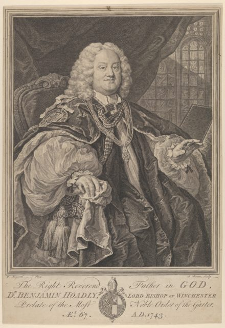 The Right Reverend Father in God, Dr. Benjamin Hoadly, Lord Bishop of Winchester, Prelate of the Most Noble Order of the Garter, Aet. 67. A.D. 1743