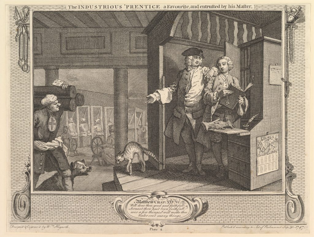 The Industrious 'Prentice a Favorite, and Entrusted by his Master: Industry and Idleness, plate 4