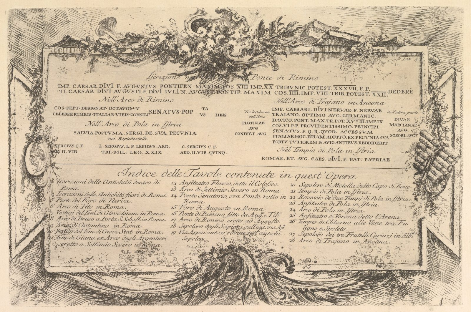 "Beginning ""Iscrizione nei lati del Ponte di Rimino"" (""Inscription on the side of the Rimini Bridge"") and followed by an index of plates in the volume."