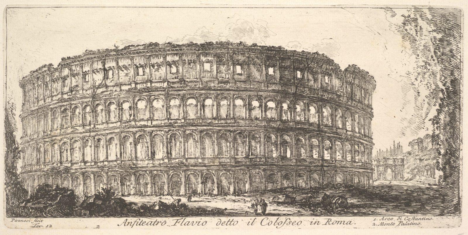 Plate 12: Flavian Amphitheater, called the Colosseum. 1. Arch of Constantine. 2. Palatine Hill. (Anfiteatro Flavio detto il Colosseo in Roma. 1. Arco di Costantino. 2. Monte Palatino.)