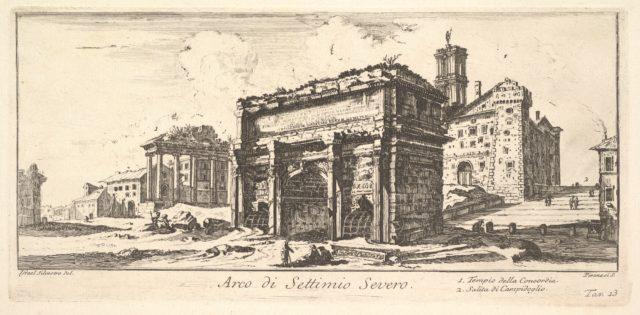 Plate 13: Arch of Settimius Severus 1. Temple of Concord. 2. Ascent to the Capitoline Hill (Arco di Settimio Severo. 1. Tempio della Concordia. 2. Salita di Campidoglio.)