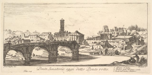 Plate 14: Senatorial Bridge, today called the Ponte Rotto (Broken Bridge). 1. Temple of Vesta. 2. Temple of Fortuna Virilis. 3. Part of the ancient Palatine. (Ponte Senatorio oggi detto Ponte rotto)