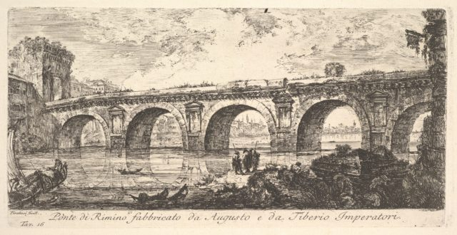 Plate 16: The Bridge at Rimini built by the Emperors Augustus and Tiberius (Ponte di Rimino fabbricato da Augusto e da Tiberio Imperatori), from Antichità Romane fuori di Roma