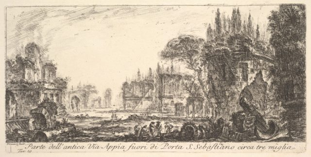 Plate 19: Part of the ancient Appian Way about three miles outside Porta S. Sebastiano, from Alcune Vedute di Archi Trionfali ed altri monumenti inalzati da Romani parte de quali se veggono in Roma e parte per l'Italia (Some Views of Triumphal Arches and other monuments erected by the Romans, some of which are in Rome and some elsewhere in Italy)