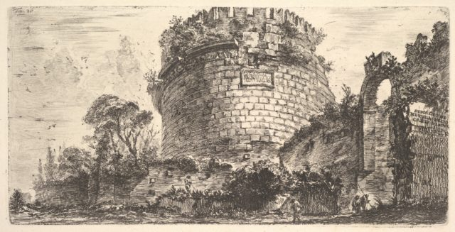 Plate 20: Tomb of Caecilia Metella called the Capo di Bove (Ox Head) (Sepolcro di Metela detto Capo di Bove)