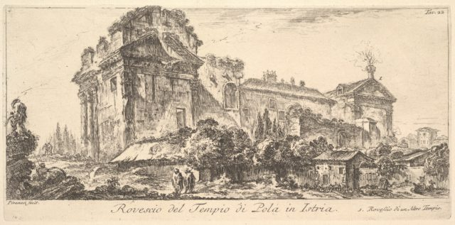Plate 22: Rear View of the Temple of Pola in Istria. 1. Rear View of another temple. (Rovescio del Tempio di Pola di Istria. 1. Rovescio di un Altro Tempio.)