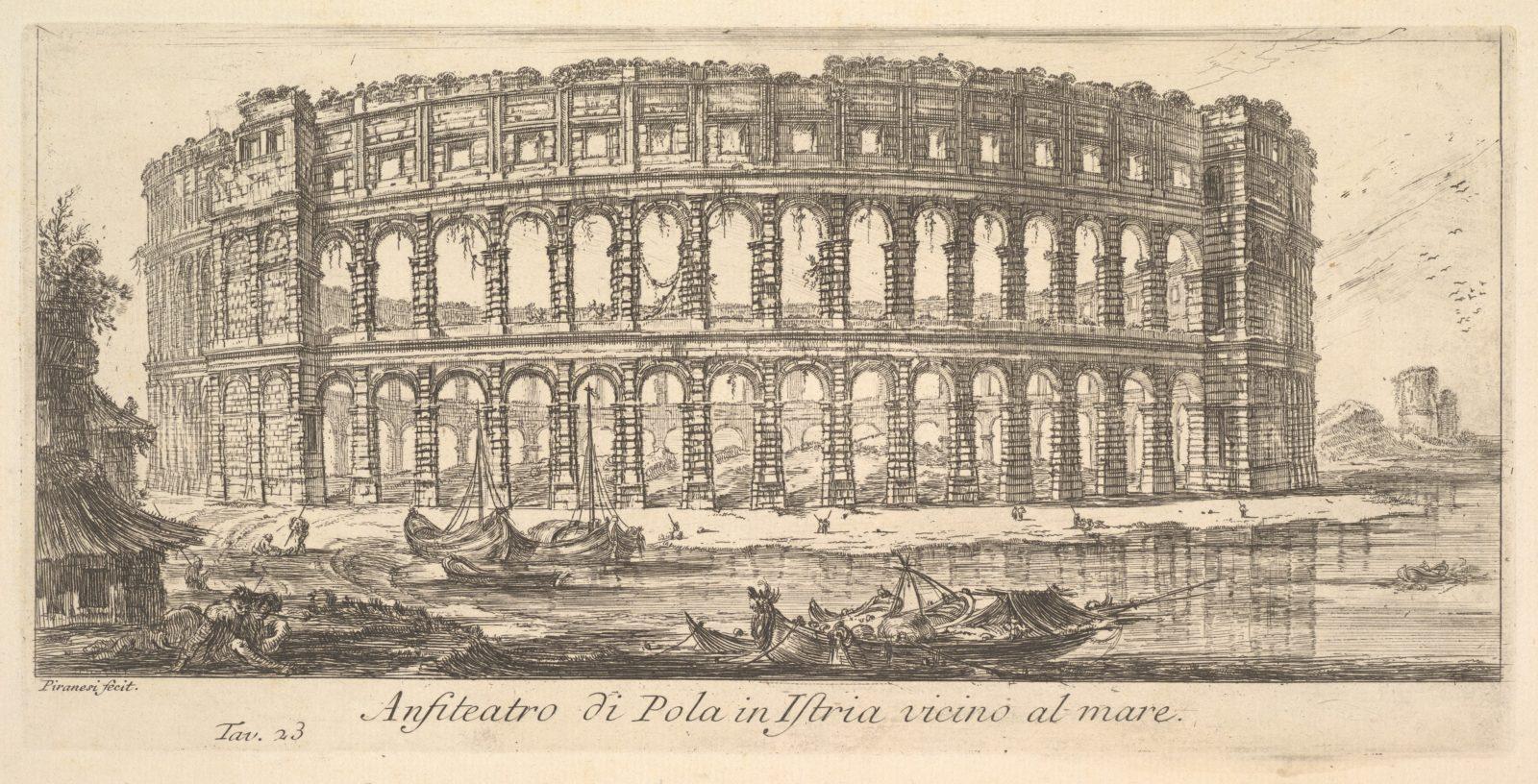 Plate 23: Amphitheater of Pola in Istria near the sea (Anfiteatro di Pola in Istria vicino al mare)