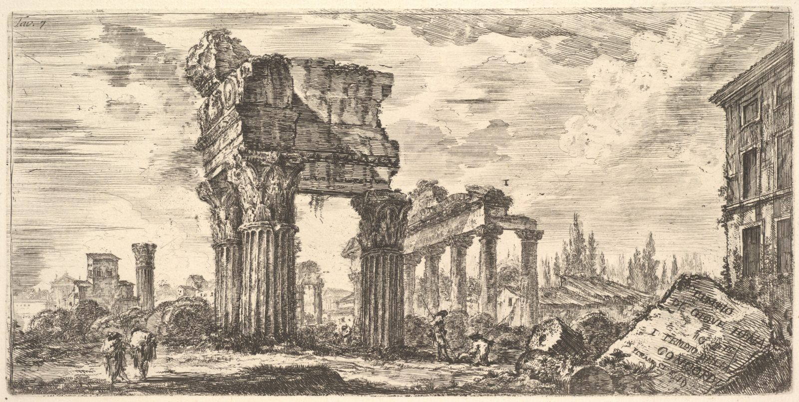 Plate 7: Temple of Jupiter Tonans (Jupiter the Thunderer). 1. Temple of Concord. (Tempio di Giove Tonans. 1. Tempio della Concordia.)