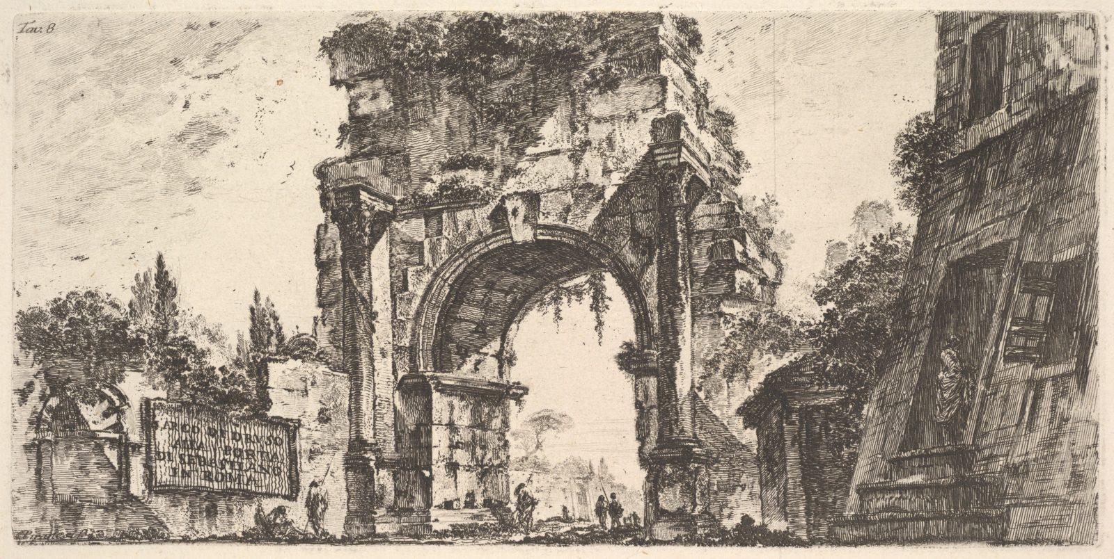 Plate 8: Arch of Drusus at the Porta S. Sebastiano in Rome (Arco di Druso alla Porta di Sebastiano in Roma)
