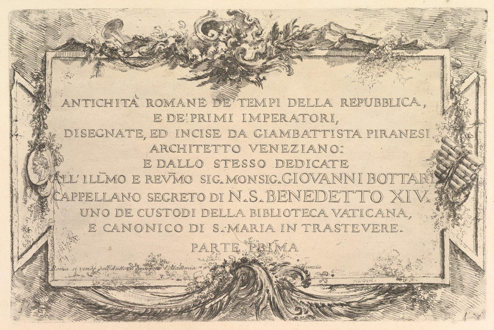 Title page: Roman Antiquity of the Time of the Republic and the First Emperors (Antichità Romane de' Tempi della Repubblica, e de' primi Imperatori).