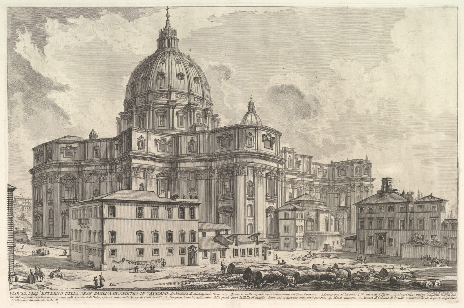 View of the exterior of St. Peter's Basilica in the Vatican, from Vedute di Roma (Roman Views)