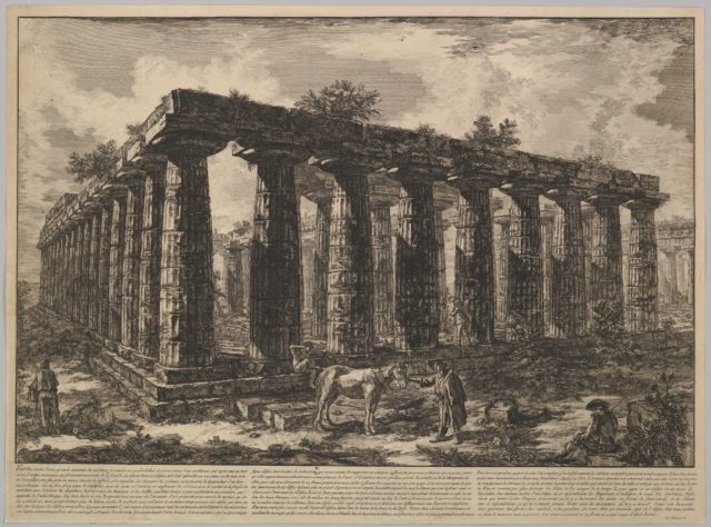 View showing the remains of a large enclosure of columns..., from Différentes vues de quelques Restes de trois grands Edifices qui subsistent encore dans le milieu de l'ancienne Ville de Pesto autrement Posidonia qui est située dans la Lucanie (Different views of some of the remains of three great edifces that still exist at teh center of the ancient city of Pesto, or Posidonia [Paestum], which is siutated in Lucania)