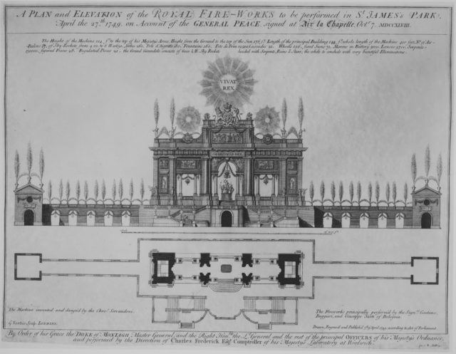 Peace of Aix-la-Chapelle: A Plan and Elevation of the Royal Fire-Works, London, 1749