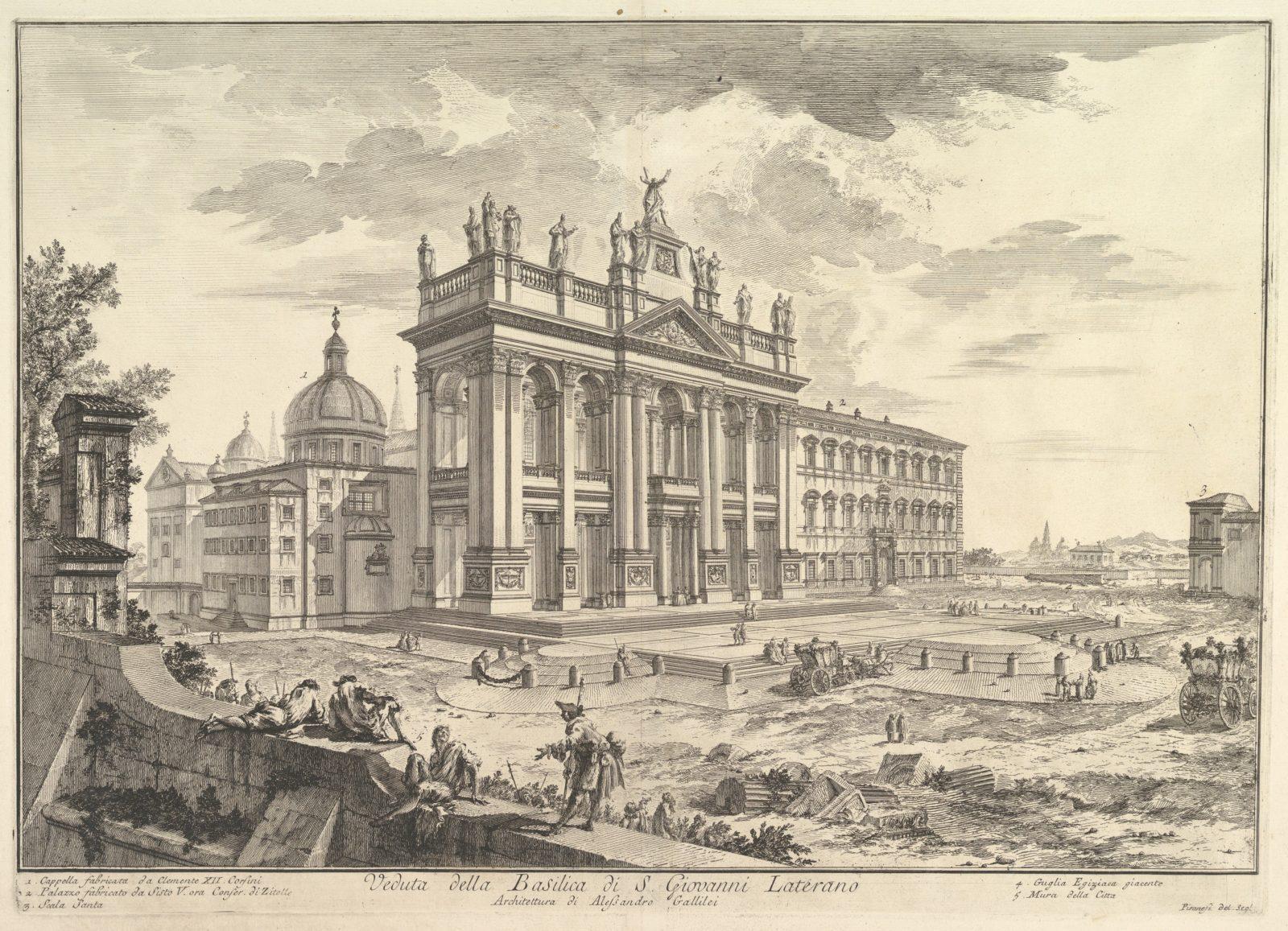 S. Giovanni in Laterano, main façade, with Palace and Scala Santa on the right (Veduta della Basilica di S. Giovanni Laterano)