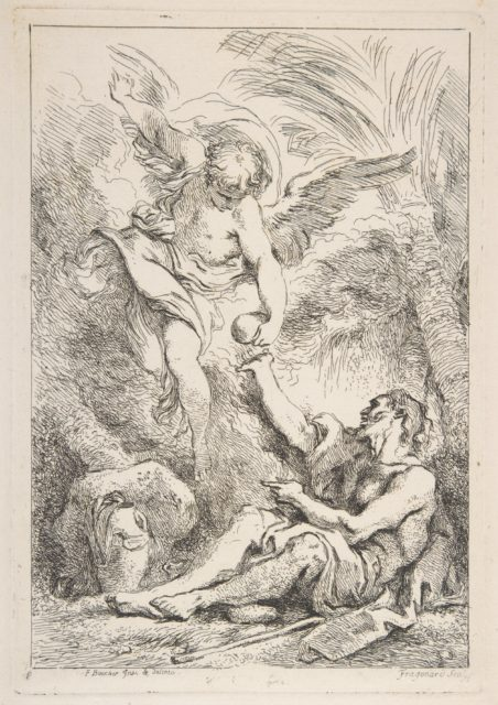 An Angel Bringing Food to a Hermit