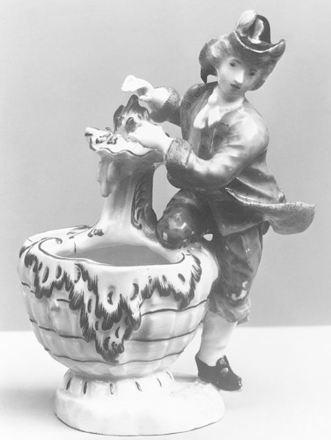 Condiment jar (one of a pair), with figure symbolizing Winter
