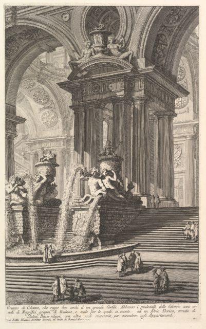 Group of columns which support two arches of a great courtyard . . . (Gruppo di Colonne, che regge due archi d'un grande Cortile . . . )