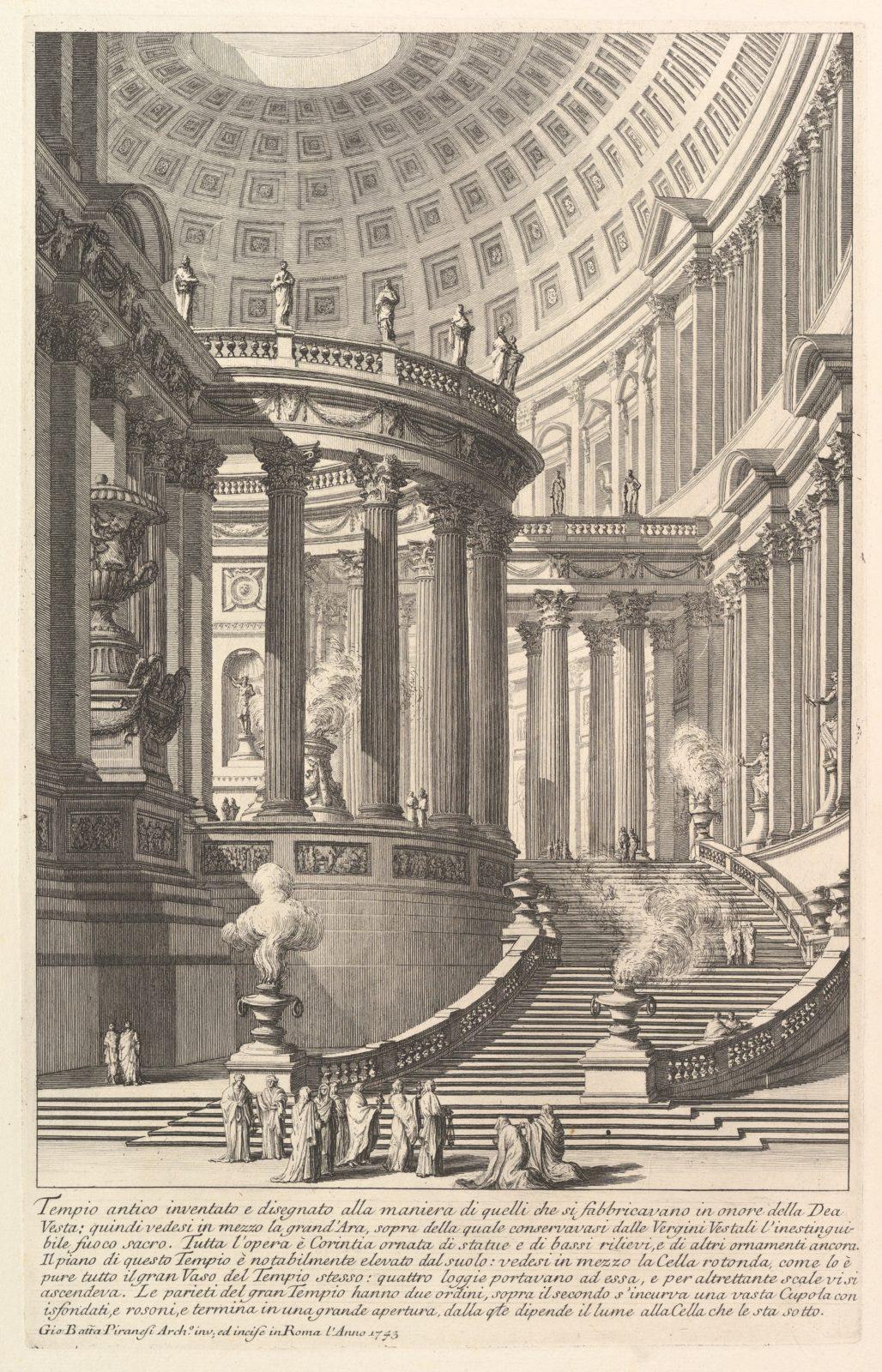 Imaginery ancient temple designed in the style of those built in honor of the Goddess Vesta . . . (Tempio antico inventato e disegnato alla maniera di quelli che si fabbricavano in onore della Dea Vesta . . . )