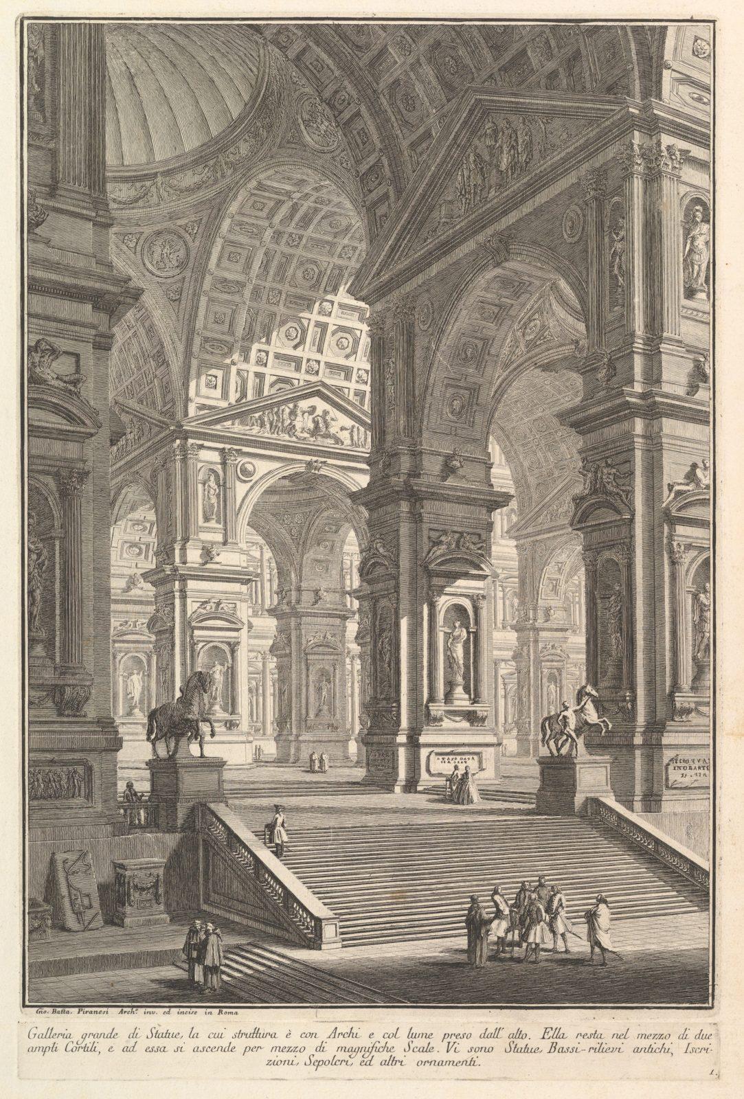 Large sculpture gallery built on arches and lit from above . . . (Galleria grande di Statue, la cui struttura è con Archi e col lume preso dall'alto . . . .)
