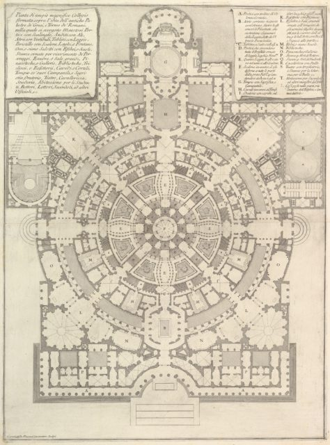 Plan of a spacious and magnificent College designed after the ancient gymnasia of the Greeks and the baths of the Romans..., from Opere Varie di Architettura, prospettive, grotteschi, antichità; inventate, ed incise da Giambattista Piranesi Architetto Veneziano (Various Works of Architecture, perspectives, grotesques and antiquities; designed and etched by Giambattista Piranesi, Venetian Architect)