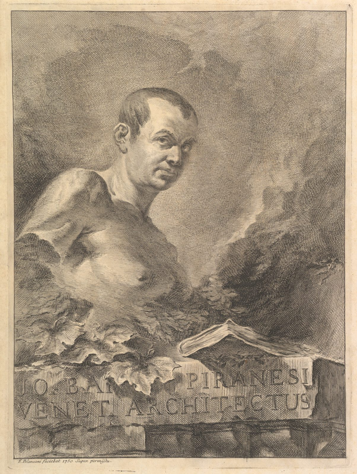 Portrait of G.B. Piranesi in imitation of an antique bust, from Opere varie di Architettura, prospetive, grotteschi, antichità; inventate, ed incise da Giambattista Piranesi Architetto Veneziano (Various Works of Architecture, perspectives, grotesques, and antiquities, designed and etched by Giambattista Piranesi, Venetian Architect)