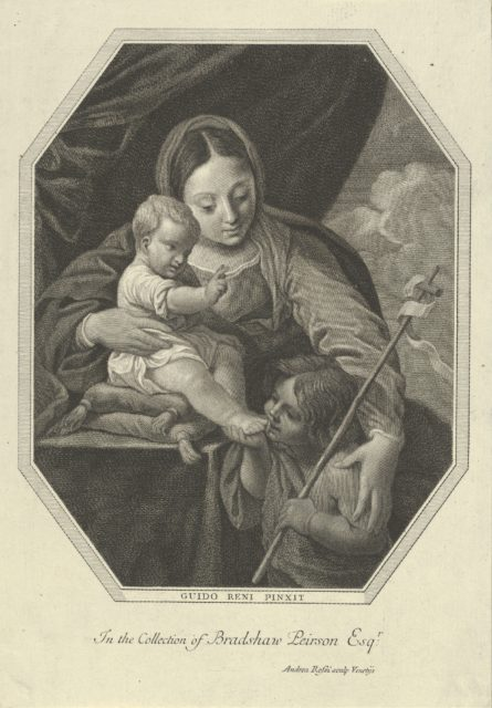 The Virgin with the infant Christ seated on a cushion and the young Saint John the Baptist kissing his foot, an octagonal composition, after Reni