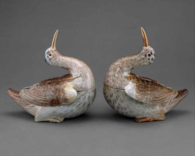 Two tureens in the form of woodcocks