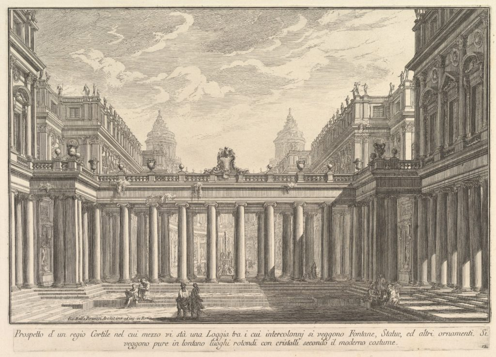 View of a courtyard with a loggia, fountains, statues, and other ornaments (Prospetto d'un regio Cortile nel cui mezzo vi stà una Loggia . . .)