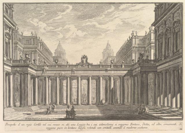 View of a courtyard with a loggia, fountains, statues, and other ornaments (Prospetto d'un regio Cortile nel cui mezzo vi stà una Loggia . . .)