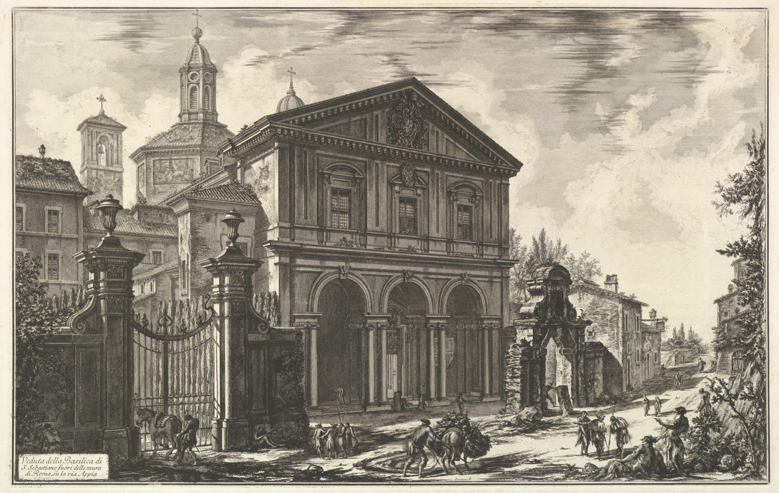 View of the Basilica of San Sebastiano fuori delle mura [St. Sebastian outside the Walls] on the Appian Way, from Vedute di Roma (Roman Views)