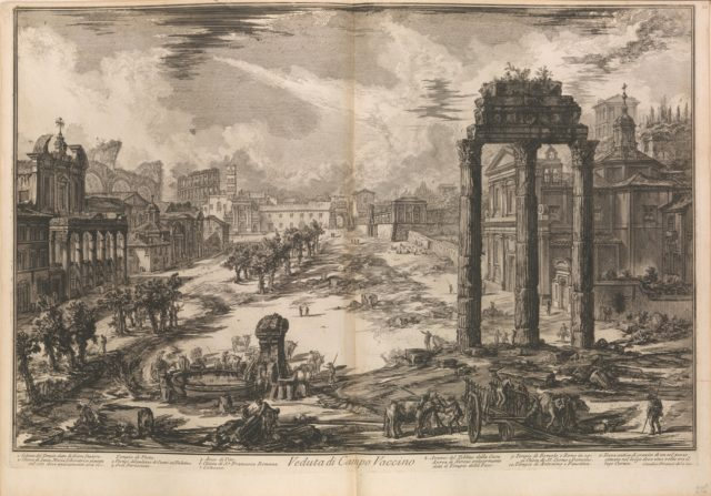 View of the Campo Vaccino [Roman Forum with the Temple of Castor and Pollux to right], from Vedute di Roma (Roman Views), part II