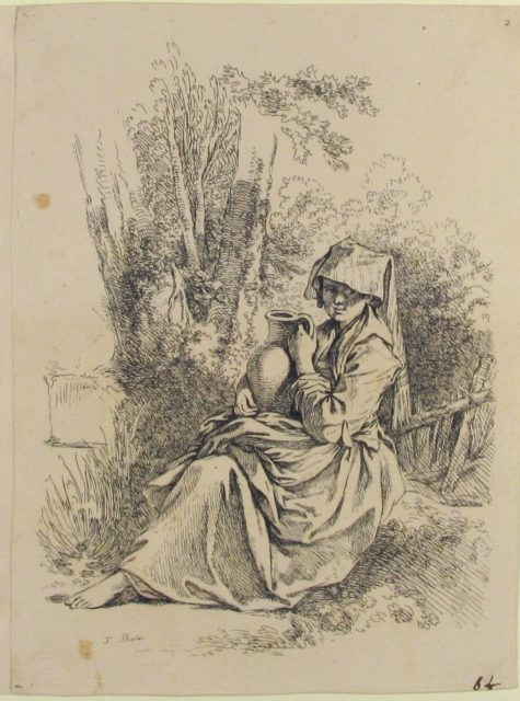 Seated Young Peasant Woman Holding a Jug, from Nouveau Livre de diverse Figures (New Book of Various Figures)