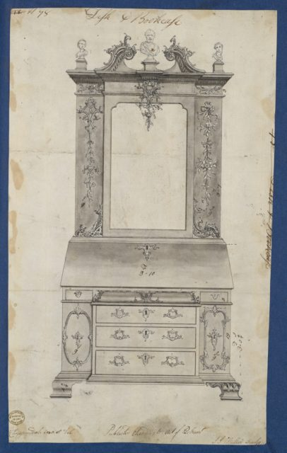 Desk and Bookcase, from Chippendale Drawings, Vol. II