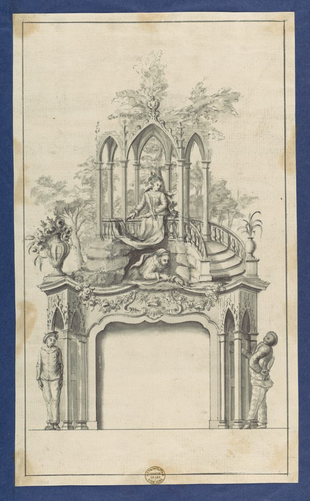 Fireplace Flanked by Commedia dell'arte Figures with Overmantle Showing a Gothic Gazebo, in Chippendale Drawings, Vol. I