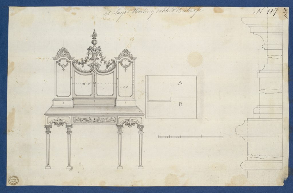 Lady's Writing Table and Bookcase, from Chippendale Drawings, Vol. II