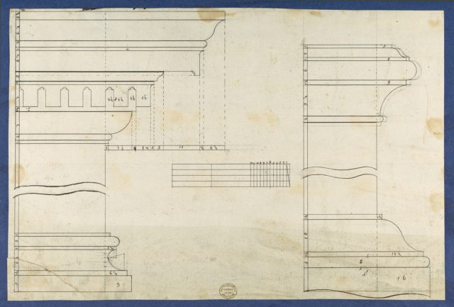 Moldings for Gothic Library Bookcase, from Chippendale Drawings, Vol. II