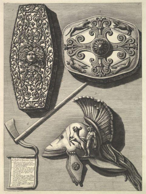 Parti in grande restaurati de' Trofei de Ottaviano Augusto (Restored detail of the Trophy of Octavian Augusto)