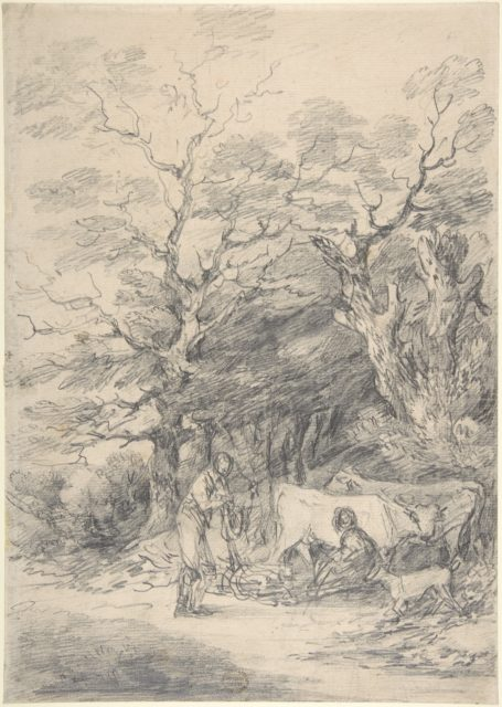 Landscape with cattle and figures; sketch for the Rustic Courtship