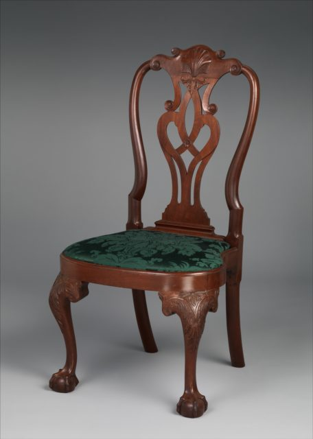 Queen Anne Carved Mahogany Side Chair