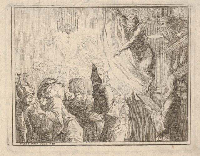 Satyr standing on a stage and pointing downward toward an audience, two jesters gesticulate at lower left