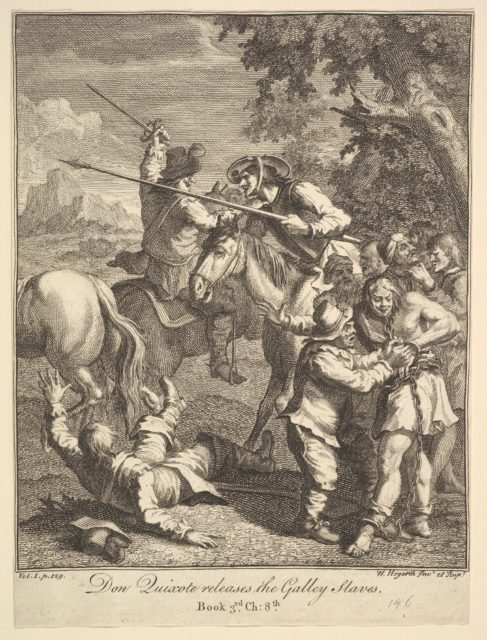 Don Quixote releases the Galley Slaves (Six Illustrations for Don Quixote)